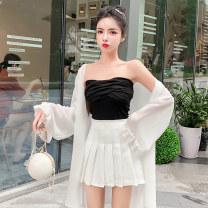 Dress Summer of 2019 S M L Short skirt Three piece set Sleeveless commute One word collar High waist Solid color Socket A-line skirt routine Others 25-29 years old Princess Jenna Korean version More than 95% brocade polyester fiber Other polyester 95% 5% Pure e-commerce (online only)