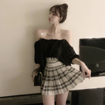 Dress Summer of 2019 Black top + plaid skirt S M Short skirt Two piece set Sleeveless commute One word collar High waist Solid color zipper One pace skirt routine camisole 25-29 years old Princess Jenna Korean version backless JNF31710# More than 95% brocade polyester fiber Other polyester 95% 5%
