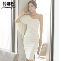Dress Summer of 2018 White black S M L Short skirt singleton  Long sleeves commute Slant collar High waist Solid color zipper One pace skirt other Breast wrapping 18-24 years old Type H Korean version More than 95% brocade polyester fiber Other polyester 95% 5% Pure e-commerce (online only)