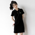 Dress Summer 2021 black S M L longuette singleton  Short sleeve commute Polo collar Solid color Socket routine camisole 18-24 years old Zizo Korean version Button More than 95% cotton Cotton 95% new polyester 5% Pure e-commerce (online only)