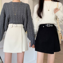 skirt Winter 2020 S M L XL Black Brown Beige white Short skirt commute High waist A-line skirt Solid color Type A 18-24 years old Dress for each other More than 95% other Xi Xuan polyester fiber Sticking cloth Korean version Polyester 100% Exclusive payment of tmall