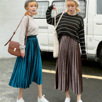 skirt Autumn of 2018 Average size Mid length dress Versatile High waist Pleated skirt Solid color Type A 18-24 years old 91% (inclusive) - 95% (inclusive) other Xi Xuan polyester fiber fold Polyester fiber 91.9% polyurethane elastic fiber (spandex) 8.1% Pure e-commerce (online only)