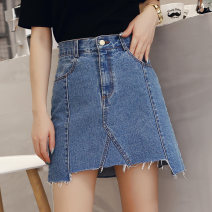 skirt Summer of 2018 S M L XL XXL Dark blue medium blue Short skirt commute High waist Denim skirt Solid color Type A 18-24 years old More than 95% Denim Xi Xuan cotton Pocket zipper with holes Korean version Pure e-commerce (online only) 161g / m ^ 2 (including) - 180g / m ^ 2 (including)