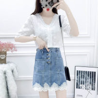Professional dress suit S,M,L,XL Round neck top + denim skirt, V-neck Top + denim skirt Summer 2020 Short sleeve A-line skirt 18-25 years old Other / other