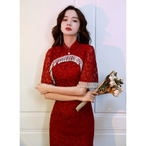 cheongsam Summer 2021 XS S M L XL XXL XXXL Short sleeve Short cheongsam Retro Low slit wedding Solid color 18-25 years old Su Shangmei other Other 100%