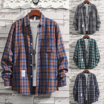 shirt Youth fashion Others M,L,XL,2XL,3XL routine square neck Long sleeves easy daily autumn youth tide 2020 lattice Plaid cotton Easy to wear