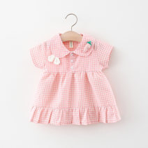 Dress female Other / other Cotton 95% polyester 5% summer college Short sleeve lattice cotton Princess Dress Q2104223 Class A 12 months, 6 months, 9 months, 18 months, 2 years, 3 years, 4 years Chinese Mainland Pink, yellow, light brown 66cm,73cm,80cm,85cm,90cm,95cm,100cm,105cm