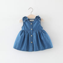 Dress female Other / other Cotton 94% polyester 6% summer princess Skirt / vest Solid color cotton Splicing style 12 months, 6 months, 9 months, 18 months, 2 years, 3 years, 4 years