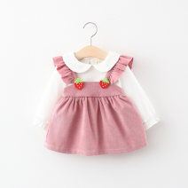 Dress Pink, yellow female Other / other 66cm,73cm,80cm,85cm,90cm,95cm,100cm Cotton 95% polyester 5% spring and autumn fresh Long sleeves other cotton Splicing style L2008080 3 months, 12 months, 6 months, 9 months, 18 months, 2 years old, 3 years old Chinese Mainland