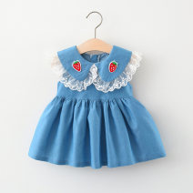 Dress Peacock blue, blue female Other / other 66cm,73cm,80cm,85cm,90cm,95cm,100cm Cotton 95% polyester 5% summer college Skirt / vest Fruits and Vegetables cotton Splicing style LYQ202103157 Class A 12 months, 6 months, 9 months, 18 months, 2 years, 3 years, 4 years Chinese Mainland