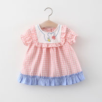 Dress female Other / other 66cm,73cm,80cm,85cm,90cm,95cm,100cm,105cm Cotton 95% polyester 5% summer leisure time Short sleeve lattice cotton Splicing style Class A 12 months, 6 months, 9 months, 18 months, 2 years, 3 years, 4 years Chinese Mainland