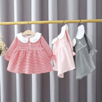 Dress Red, pink, black female Other / other 66cm,73cm,80cm,85cm,90cm,95cm,100cm,105cm Cotton 95% polyester 5% spring and autumn lady Long sleeves lattice cotton Princess Dress 12 months, 6 months, 9 months, 18 months, 2 years, 3 years, 4 years Chinese Mainland Hubei province