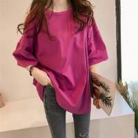 T-shirt White, rose, pink, blue, purple M,L,XL,2XL Summer 2021 elbow sleeve Crew neck easy Medium length routine commute cotton 96% and above Solid color