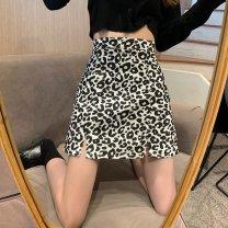 skirt Summer 2021 S M L XL black Short skirt commute High waist A-line skirt Leopard Print Type A 18-24 years old D419F 51% (inclusive) - 70% (inclusive) Dizilu polyester fiber printing Korean version Polyester 65% cotton 35% Pure e-commerce (online only)