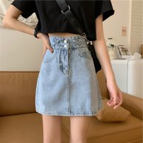skirt Summer 2021 S M L XL blue Short skirt commute High waist A-line skirt Solid color Type A 18-24 years old D418F 51% (inclusive) - 70% (inclusive) Dizilu polyester fiber pocket Korean version Polyester 65% cotton 35% Pure e-commerce (online only)