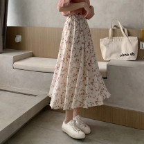 skirt Summer 2021 S M L Apricot Pink Mid length dress commute High waist A-line skirt Broken flowers 18-24 years old C392C 51% (inclusive) - 70% (inclusive) Dizilu polyester fiber Korean version Polyester 65% cotton 35% Pure e-commerce (online only)