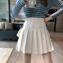 skirt Summer 2021 S M L XL XXL White black grey Short skirt commute High waist Pleated skirt Solid color Type A 18-24 years old C393C 51% (inclusive) - 70% (inclusive) Dizilu polyester fiber Korean version Polyester 65% cotton 35% Pure e-commerce (online only)