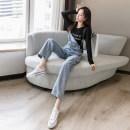 Jeans Spring 2021 wathet S,M,L,XL trousers High waist rompers routine Metal trim, multiple pockets, worn, buttons Cotton denim light colour 71% (inclusive) - 80% (inclusive)