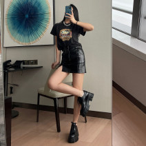 skirt Summer 2021 S, M black Short skirt street High waist skirt Solid color Type A 18-24 years old DQ-0979 71% (inclusive) - 80% (inclusive) other PU Split Punk