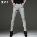 Casual pants Bomika Business gentleman Light Khaki light grey dark grey black 28 29 30 31 32 33 34 36 38 thin trousers Other leisure Self cultivation Micro bomb ZMC21041011 summer youth Business Casual 2021 middle-waisted Little feet Cotton 97.8% polyurethane elastic fiber (spandex) 2.2% Arrest line