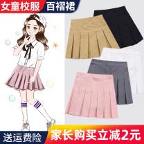 skirt 110cm,120cm,130cm,140cm,150cm,160cm,170cm,180cm Other / other female Cotton 100% spring and autumn skirt college lattice Pleats cotton Class B