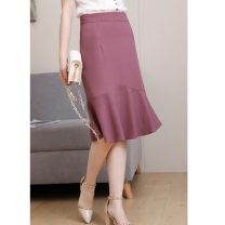 skirt Summer 2020 XS,S,M,L,XL Picture color Middle-skirt commute High waist skirt Solid color Type A 25-29 years old 31% (inclusive) - 50% (inclusive) other other Ol style