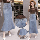 skirt Spring of 2019 S M L XL 2XL wathet longuette Versatile High waist Ruffle Skirt Solid color Type H 30-34 years old SMNGT45522688 71% (inclusive) - 80% (inclusive) Denim Simina / Sun Mina cotton Ruffle pocket for old zipper stitching Cotton 75% polyester 22% others 3%