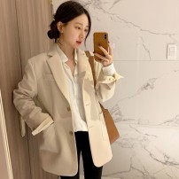 suit Spring 2021 Black Beige XS S M L XL XXL Long sleeves routine Straight cylinder tailored collar Single breasted commute routine Solid color 18-24 years old 96% and above polyester fiber Ask for dreams Button Polyester 100%