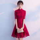 cheongsam Summer of 2018 S M L XL XXL XXXL claret Short sleeve Short cheongsam grace No slits wedding Oblique lapel Solid color 18-25 years old Embroidery QDM8087 Xianduo honey other Other 100% Pure e-commerce (online only)