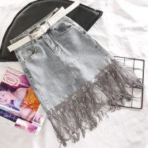 skirt Spring 2020 S M L XL XXL wathet Short skirt commute High waist Denim skirt 51% (inclusive) - 70% (inclusive) Denim European Academy cotton Korean version Cotton 70% polyester 27% polyurethane elastic fiber (spandex) 3%