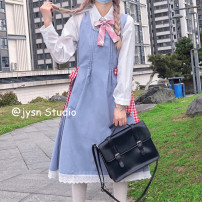 Dress Summer 2021 Shirt with bow tie, dress Average size Mid length dress Two piece set Sleeveless Sweet High waist Solid color Socket A-line skirt straps 18-24 years old Type A Bow tie 81% (inclusive) - 90% (inclusive) other college