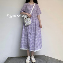 Dress Summer 2021 Picture color Average size Mid length dress singleton  Short sleeve Sweet Polo collar Loose waist lattice Single breasted A-line skirt routine 18-24 years old Type A Lace up, button 30% and below other polyester fiber solar system