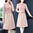 Dress Spring 2021 Pink S,M,L,XL,2XL Mid length dress Fake two pieces Long sleeves commute Crew neck High waist lattice zipper A-line skirt routine 30-34 years old Type A lady Panel, zipper 51% (inclusive) - 70% (inclusive) polyester fiber