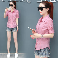 shirt pink MLXL2XL3XL Summer of 2018 Short sleeve commute Regular Polo collar Single row multi button routine Solid color 25-29 years old Self cultivation Tian Yiyi Korean version C182111 Stitching buttons Cotton 100% Pure e-commerce (online only)
