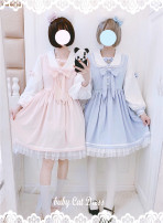 Dress Autumn of 2019 S,M,L Short skirt singleton  Long sleeves Sweet Admiral High waist Solid color zipper Princess Dress routine Others Under 17 Type A 30% and below other cotton Lolita