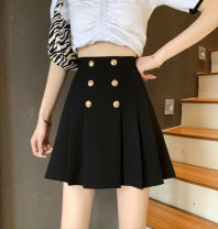 skirt Summer 2021 S,M,L,XL Gray, black Short skirt commute High waist Fluffy skirt Solid color Type A 18-24 years old JZT 51% (inclusive) - 70% (inclusive) other Cellulose acetate Button Korean version
