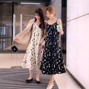 Dress Summer 2021 Suspender skirt - black, suspender skirt - white S,M,L,XL longuette singleton  Sleeveless commute V-neck Loose waist Decor Socket A-line skirt camisole 18-24 years old Type A Korean version Splicing D520 51% (inclusive) - 70% (inclusive) Chiffon polyester fiber