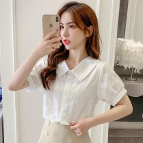 Lace / Chiffon Summer 2021 White, green S,M,L,XL,XXL Short sleeve commute Cardigan singleton  Straight cylinder Regular Doll Collar Solid color routine 18-24 years old JZT Splicing Korean version 51% (inclusive) - 70% (inclusive) polyester fiber
