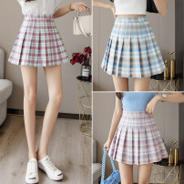 skirt Summer 2021 S,M,L,XL Pink and blue check , Berry check , Sky blue grid , Zige Short skirt commute High waist Pleated skirt lattice Type A 18-24 years old GT 51% (inclusive) - 70% (inclusive) zipper Korean version
