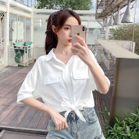 shirt White, purple, pink S,M,L,XL,2XL Summer 2021 other 51% (inclusive) - 70% (inclusive) Short sleeve commute Short style (40cm < length ≤ 50cm) Polo collar Single row multi button routine Solid color 18-24 years old Straight cylinder Korean version A2360