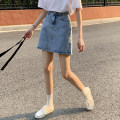 skirt Summer 2021 S,M,L blue Short skirt commute High waist A-line skirt Solid color 18-24 years old D520 71% (inclusive) - 80% (inclusive) Korean version