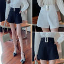 Casual pants White, black S,M,L,XL,2XL Summer 2021 shorts Wide leg pants High waist commute routine 18-24 years old 51% (inclusive) - 70% (inclusive) JZT polyester fiber Korean version zipper polyester fiber