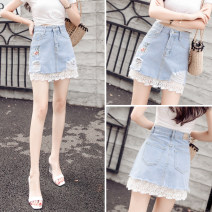 skirt Summer 2021 S,M,L,XL Blue 761 (without lining), blue 762 (with lining) Short skirt commute High waist Denim skirt Decor Type A 18-24 years old D123 51% (inclusive) - 70% (inclusive) Denim cotton hole Korean version 401g / m ^ 2 (inclusive) - 500g / m ^ 2 (inclusive)