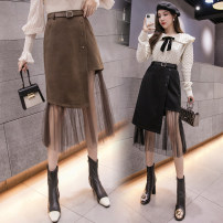 skirt Winter 2021 S,M,L,XL,2XL Black, brown Middle-skirt commute High waist A-line skirt Solid color Type A 18-24 years old D520 51% (inclusive) - 70% (inclusive) Wool Korean version