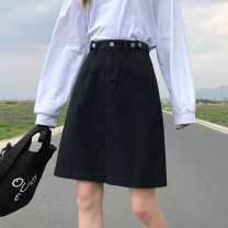 skirt Summer 2021 XS,S,M,L,XL Light blue, white, black Middle-skirt commute High waist Denim skirt Solid color Type A 18-24 years old D520 81% (inclusive) - 90% (inclusive) Denim cotton Pockets, rags, buttons, zippers Korean version