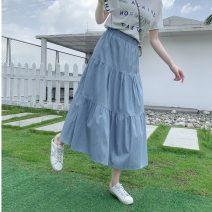 skirt Summer 2021 S,M,L Light blue, dark blue Mid length dress commute High waist Solid color 18-24 years old JZT 51% (inclusive) - 70% (inclusive) Korean version