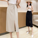 skirt Summer 2021 S,M,L,XL Apricot, black, light khaki Mid length dress commute High waist skirt Solid color Type A 18-24 years old GT 51% (inclusive) - 70% (inclusive) nylon Pleats, zippers Korean version