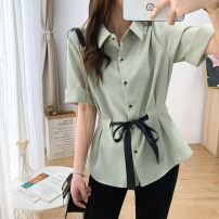 Women's large Summer 2020 White, light green Large L, large XL, large XXL, large XXL, large XXXL shirt singleton  commute Self cultivation thin Socket Short sleeve Solid color Korean version Polo collar routine Polyester, acrylic, nylon Three dimensional cutting routine belt