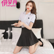 Dress Spring 2021 Black grey 155/S 160/M 165/L 170/XL 175/XXL Short skirt Two piece set Short sleeve commute Polo collar High waist character Socket Pleated skirt routine Others 18-24 years old Yi mengran Korean version Button X1033 81% (inclusive) - 90% (inclusive) brocade polyester fiber