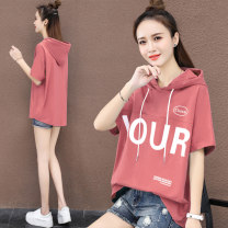 T-shirt Starry sky black gray blue white watermelon red yellow M L XL Summer 2021 Short sleeve Hood easy Regular routine street cotton 96% and above 25-29 years old classic letter Cleavage domain 5877Z28 printing Cotton 100% Pure e-commerce (online only) Sports & Leisure